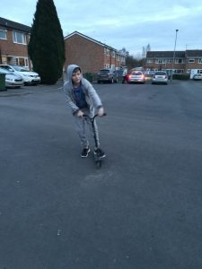 11 year old on scooter