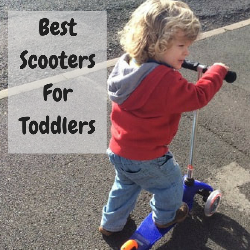 Toddler on a blue mini micro scooter
